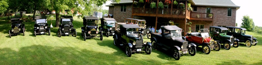 All the Model Ts lined up for a photo.
