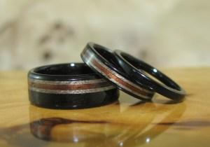 Dark Hawaiian Koa, Grey Maple and African Blackwood wedding bands and engagement ring