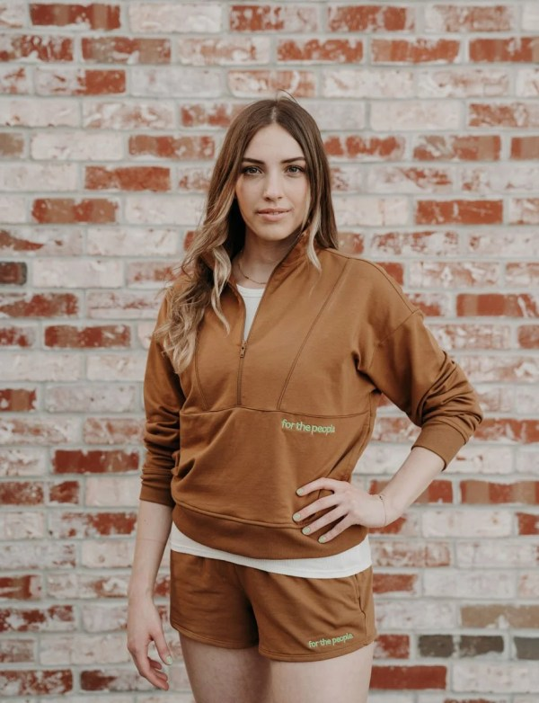 brown pullover with brown sweatshorts