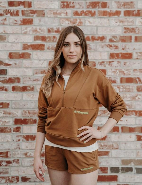 brown terry half zip pullover
