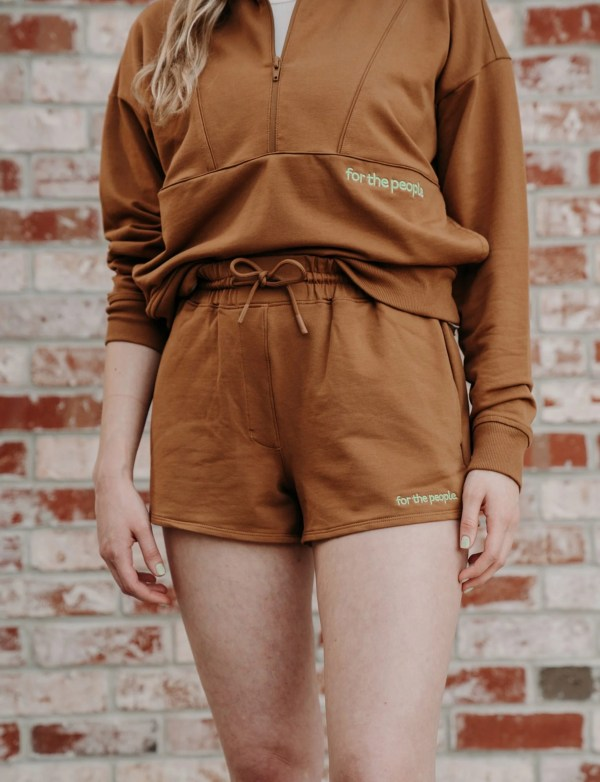 brown sweatshorts with brown pullover
