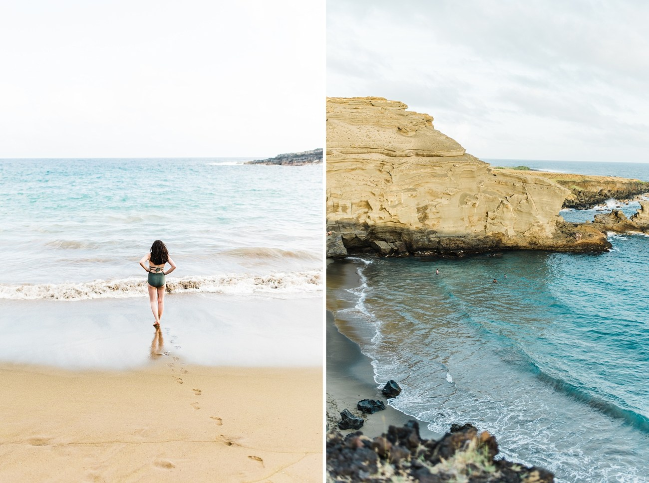 Collage of Photos of the Papakolea Green Sand Beach on the Big Island of Hawaii