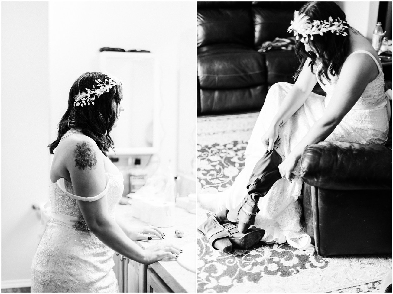 Black and White Diptych of a bride getting ready
