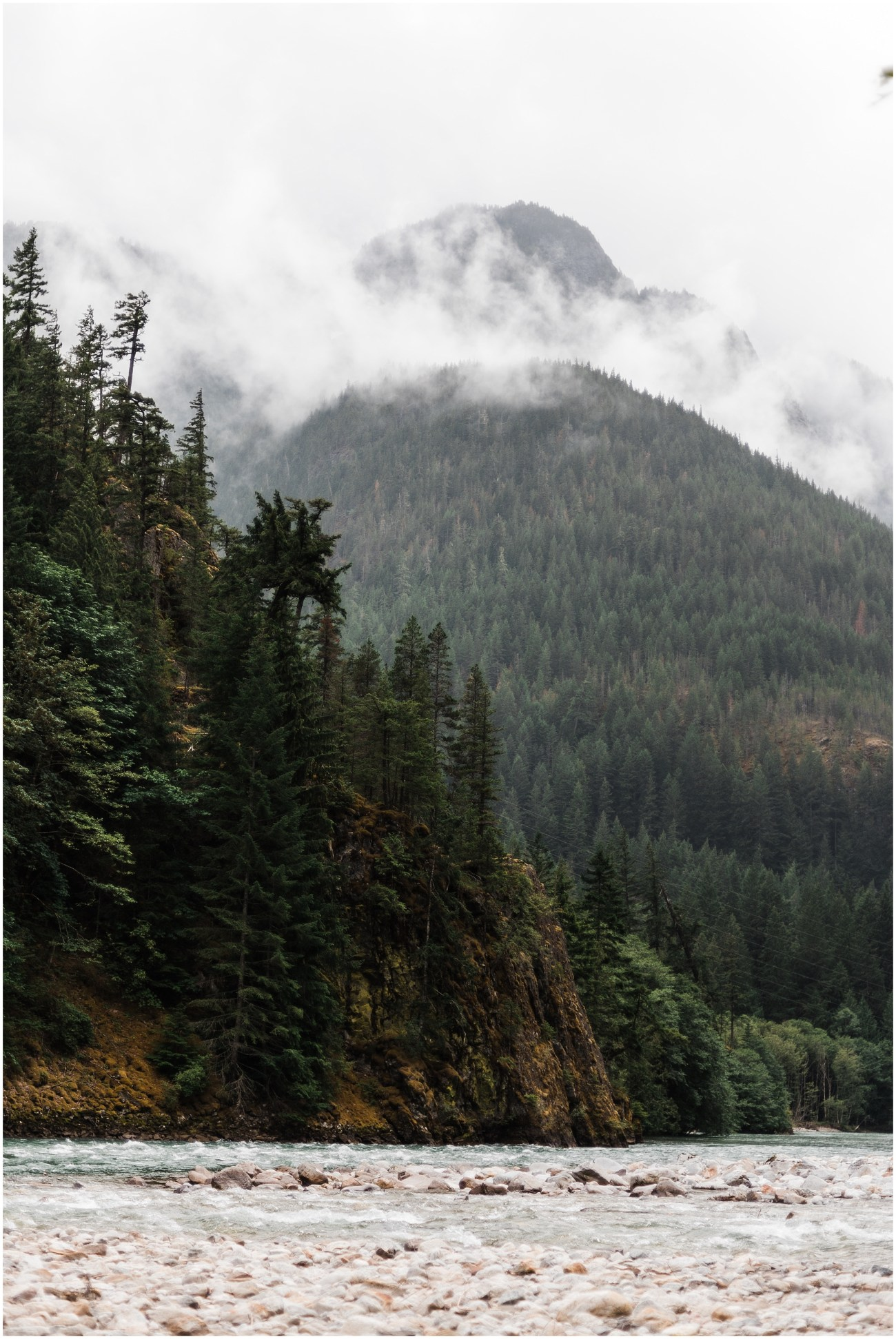 River and Mountain Landscape in North Cascades National Park