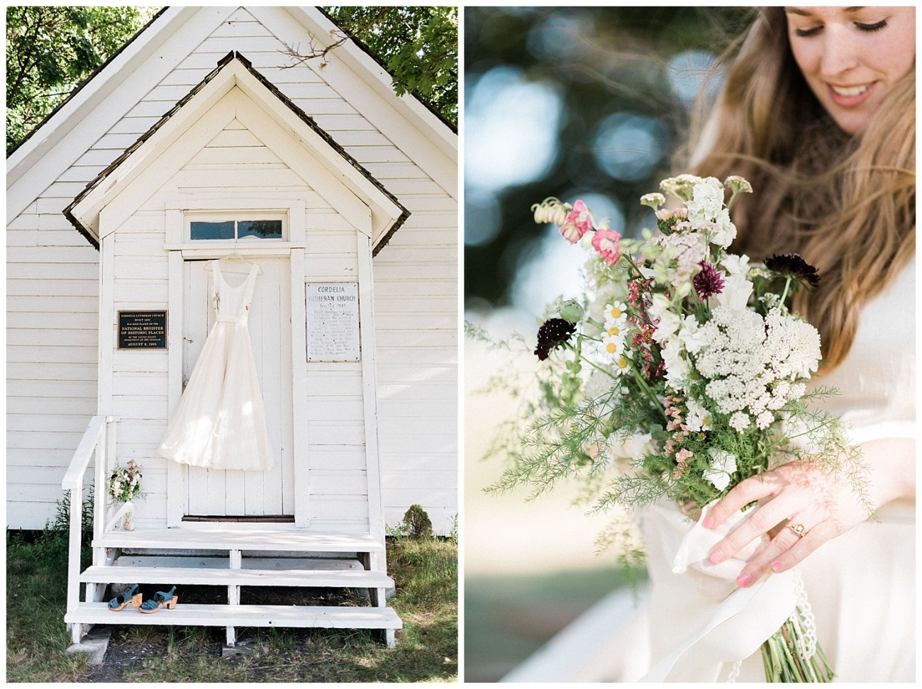 Photos of Wedding Dress & Bouquet by Forthright Photo