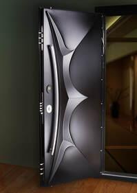 Custom black security door indoors