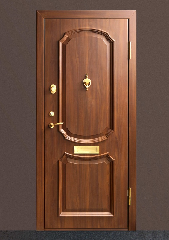 Wooden security door with gold hardware