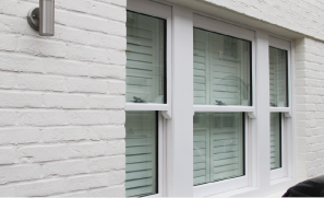 A set of single hung windows made with ballistic glass