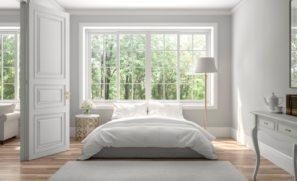 A set of bullet resistant casement windows in a bedroom