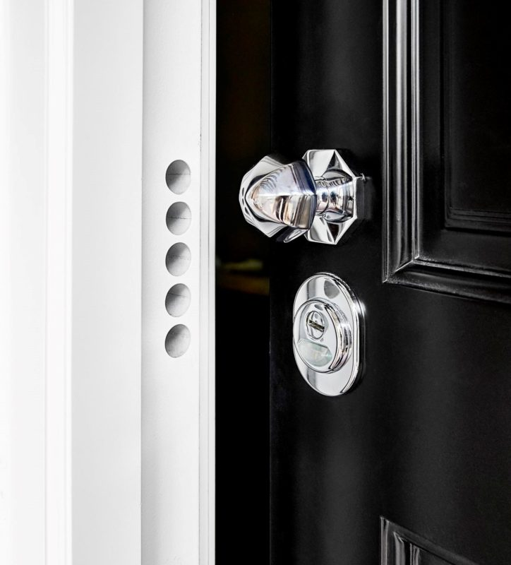 Residential security door with chrome knob