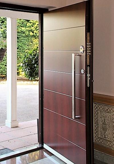 high security door clad with mahogany