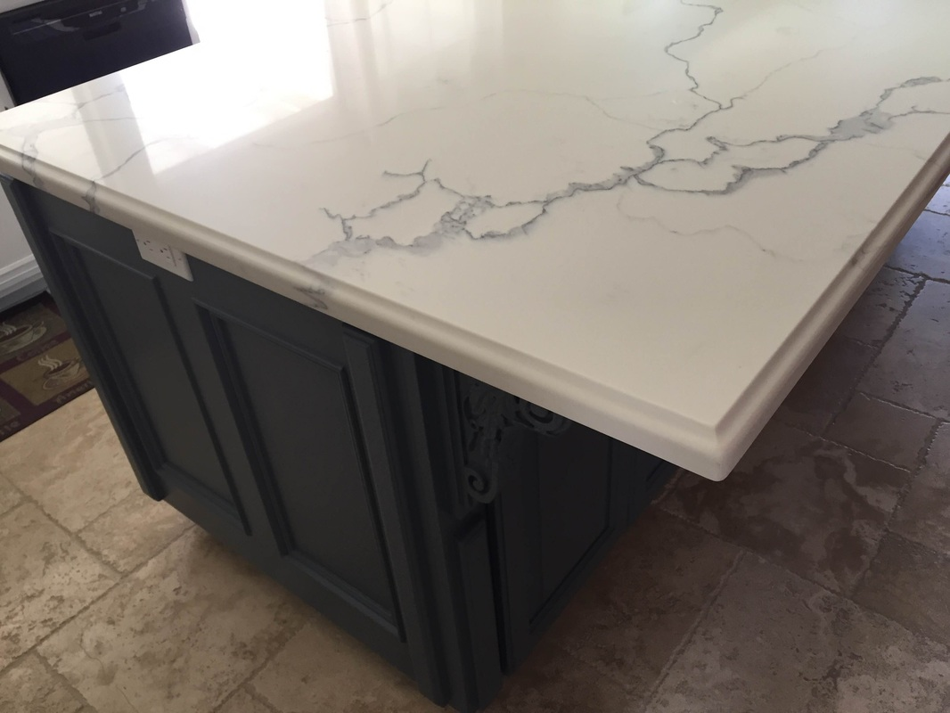 assembled kitchen island home depot financing remodel quartz 4' x 8' with ogee square edge - nathan,simi ...