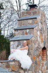 Bride on Stone Fireplace