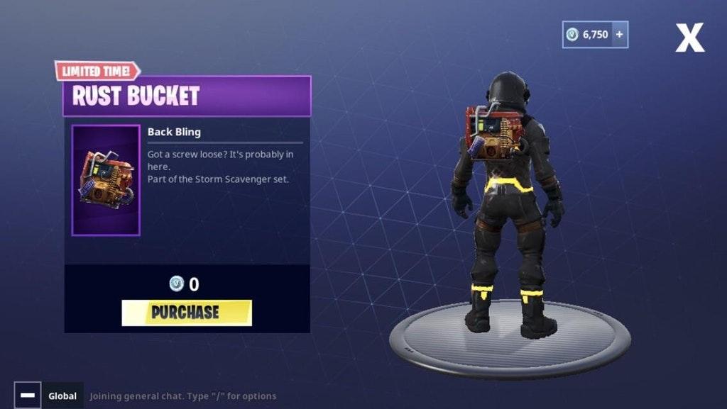 Fortnite Battle Royale Rust Bucket Back Bling