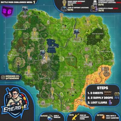 Cheat Sheet Map For Fortnite Battle Royale Season 6, Week ...
