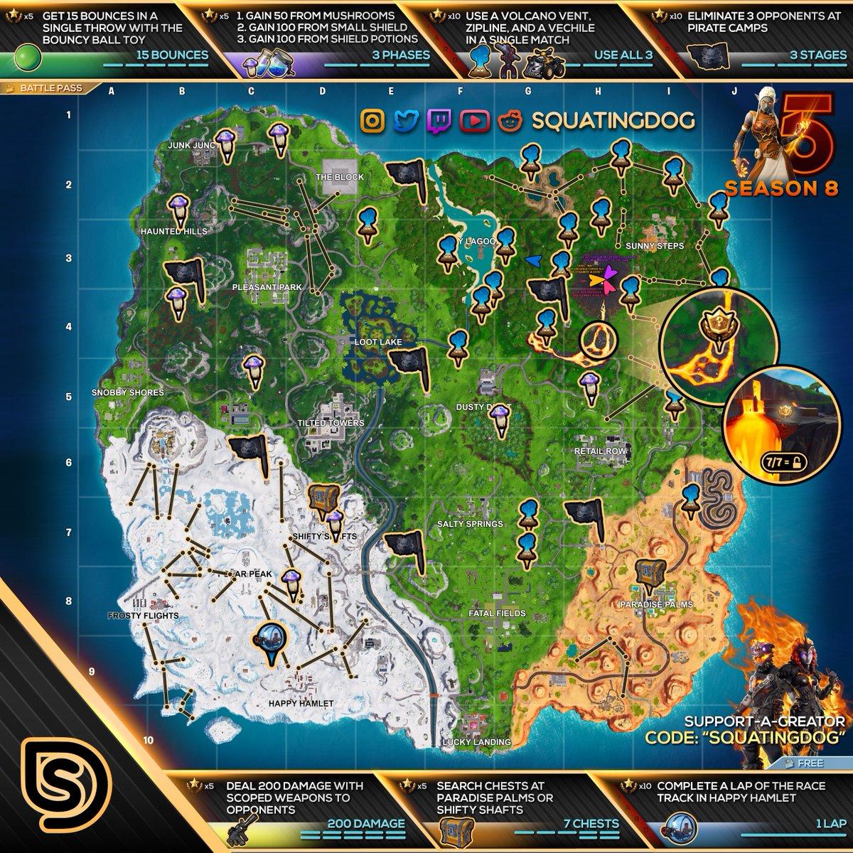 Mapa Temporada 8 Fortnite.Mapa De Hojas De Trucos De Fortnite Para Los Desafios De La