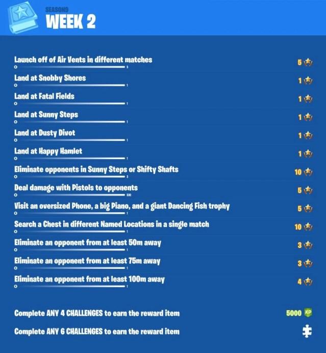 Fortnite Season 9 Cheat Sheet Week 2 Fortnite Free V Bucks Generator