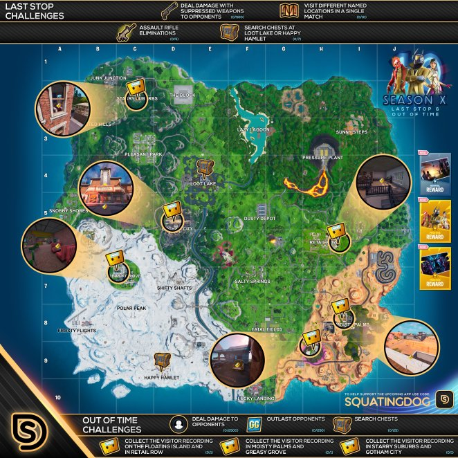 Fortnite Season 10 Overtime Out of Time Visitor Recording Cheat Sheet Map Locations