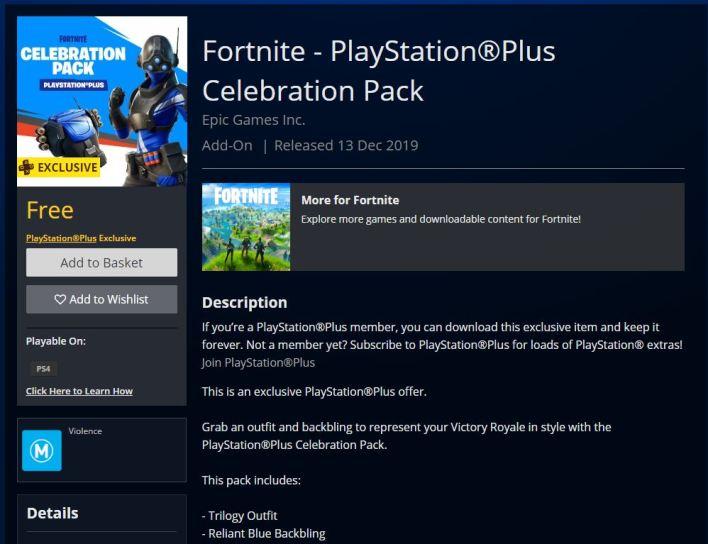 Fortnite Trilogy PlayStation Plus Celebration Pack
