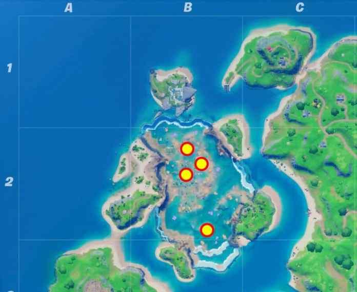 Posizione sulla mappa di Fortnite Coral Castle All Floating Rings