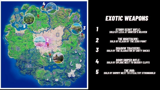 Exotic Weapon Fortnite Locations Map