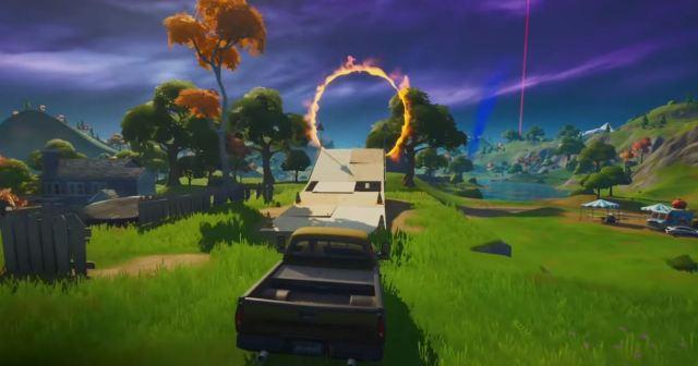 drive through flaming rings Fortnite