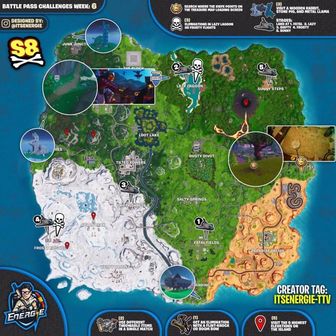 Fortnite Season 8 Week 6 Cheat Sheet Map