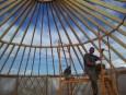 Yurt setup in progress