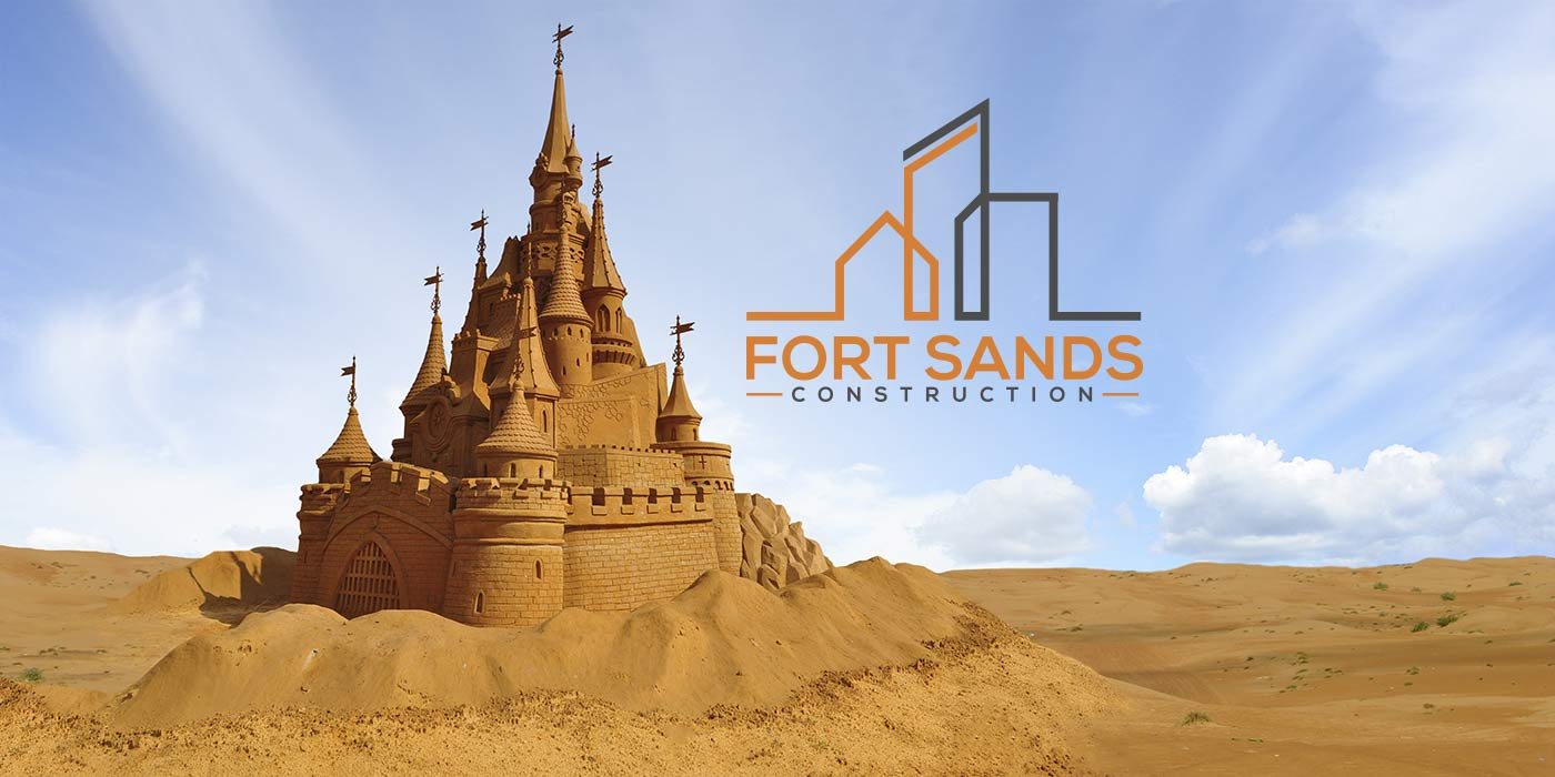 Fort Sands Construction with Sand Castle Motherhood graphic logo