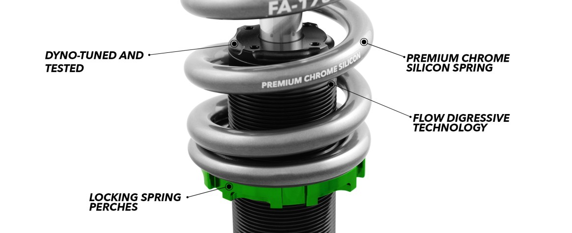 dyno tested coilovers with primum springs locking perches and flow digressive technology