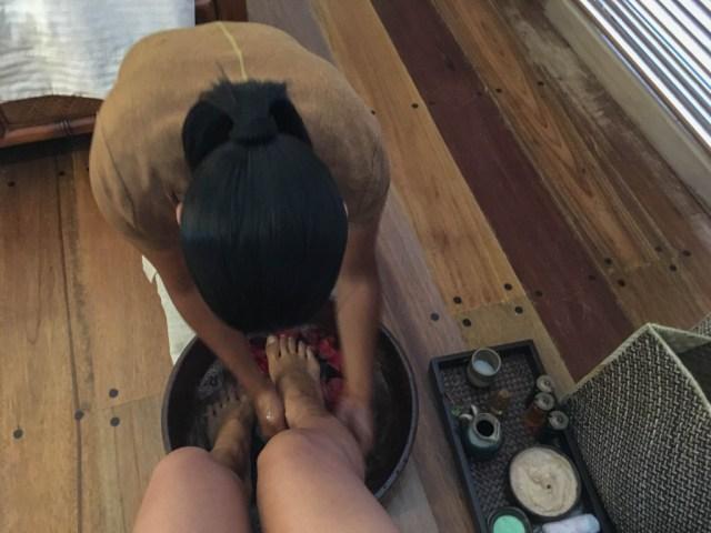 Spa treatment (Balinese foot wash) at Miniloc Island, El Nido, Palawan, Phlippines