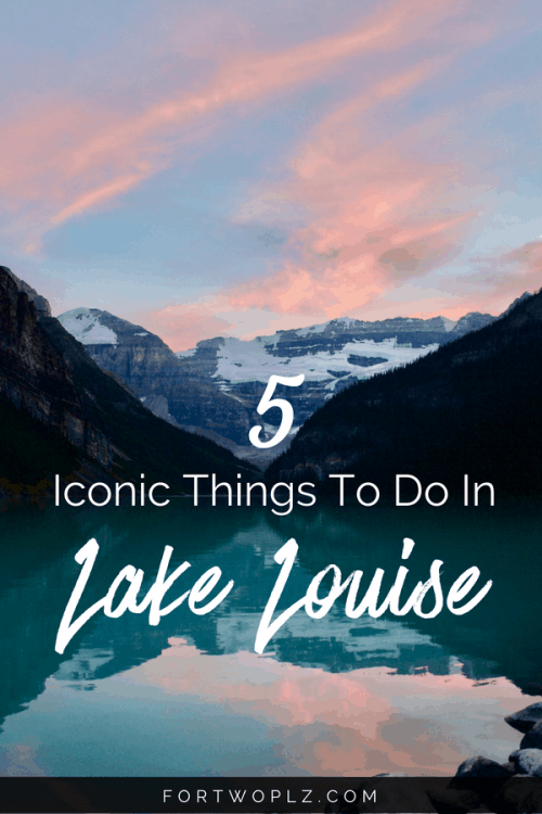 Lake Louise, Canada is a popular summer road trip destination. Make sure to spend one day in Lake Louise while you are in Banff National Park. There is no shortage of hiking trails and scenic spots. Click through to learn more at For Two, Please. #canadaroadtrip#roadtrip #alberta #lakelouise #banff#travelguide#canada #bucketlist #tripplanning #outdoors #hiking #summertravels #nationalparks