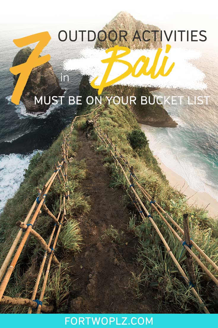Visiting Bali Indonesia for the first time? This popular tropical island is an ideal travel destination for adventure seekers and luxury travelers. Click through to discover 7 outdoor things to do in Bali that will promises unforgettable memories. A Bali travel guide with insider's tips is included as a bonus! #southeastasia #seasia #travelinspiration