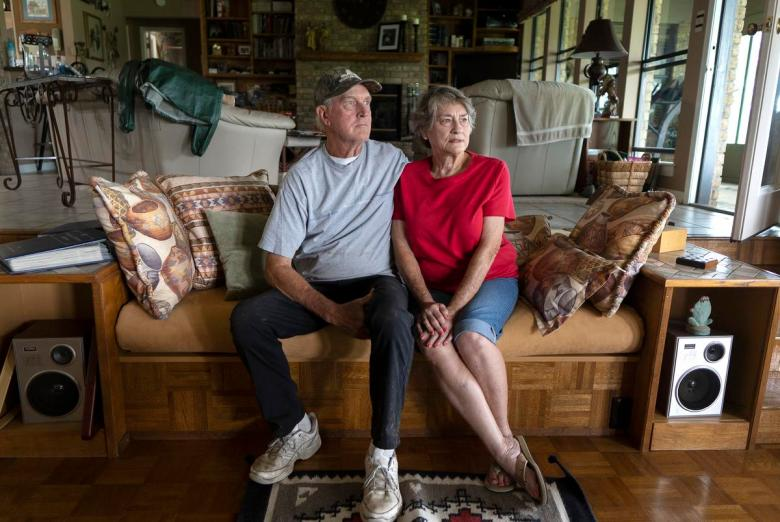 From left: Ronnie McKee, 75, and his wife Nancy McKee, 74, at their home in Lee County on July 12, 2021. The McKees are two of many Lee County residents whose water sources have dried up as a result of Vista Ridge Pipeline Project.