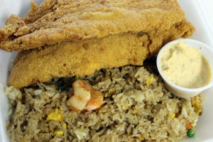 A fried catfish and fried rice combo plate