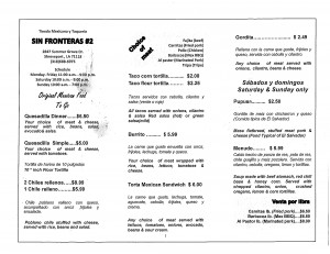The menu from Sin Fronteras #2 in Shreveport