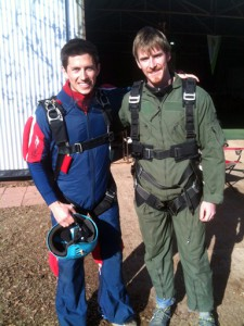Lucas (left) and his tandem skydive instructor. Photo courtesy of Lucas Ridley.