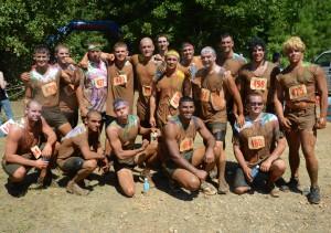 A photo of a mud run team