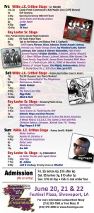 A schedule of live music