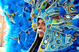 A photo of the Washitaw Nation Mardi Gras Indians