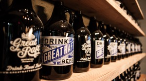 A photo of beer growlers