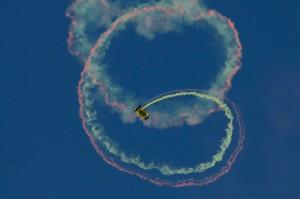 A photo of a parachute team demo