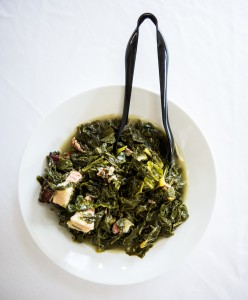 A photo of a bowl of mustard greens