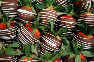 A photo of chocolate-covered strawberries