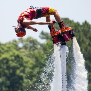 A photo of a flyboarder