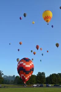 A photo of hot air balloons