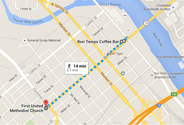 Map and suggested route of downtown Shreveport