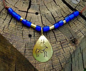 Russian Blue Trade Beads with Caribou Amulets