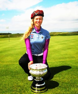 GABRIELLE MACDONALD, WITH TARTAN CAP, AND SCOTTISH WOM CHSHIP TROPHY PRESTWICK MAY 2014