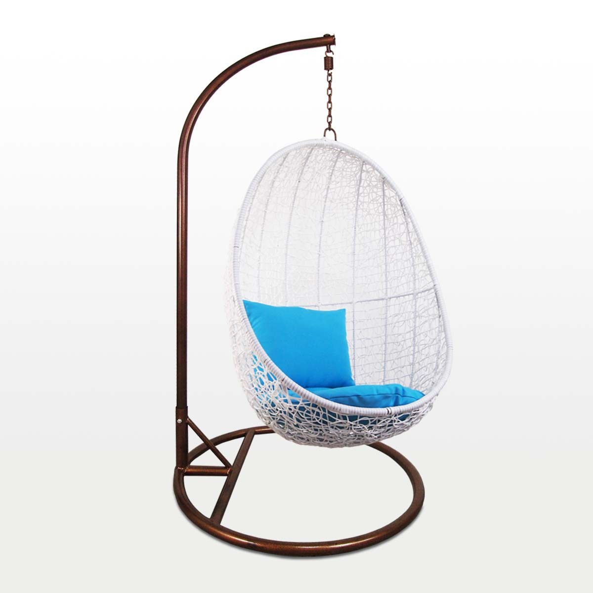 Swinging Chair White Cocoon Swing Chair Blue Cushion